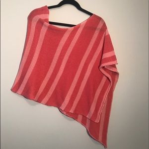Abercrombie & Fitch Coral Striped Light Poncho